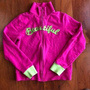 Lucky Brand Full Zip Sweatshirt, Pink and Green, L